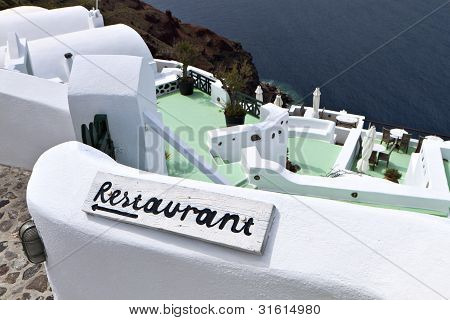 Traditional restaurant at Santorini island in Greece