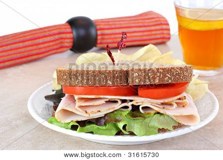 Healthy Turkey Sandwich On Whole Wheat Bread.