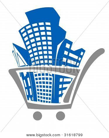 Carro de compras con edificios