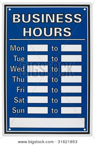 Isolated Objects: Business Hours Sign