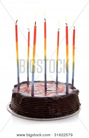 Isolated Objects: Cake With Rainbow Candles