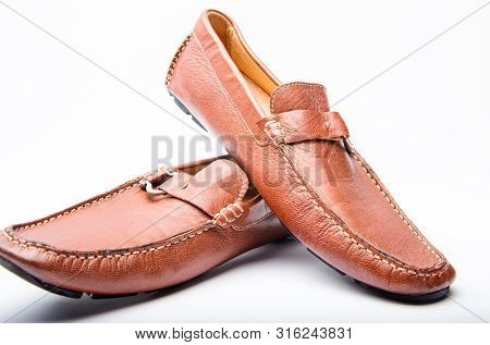 poster of Pair Of Fashionable Comfortable Shoes. Male Brown Leather Shoes. Shoes Isolated On White. Shoe Store