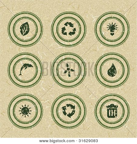 Ecology icons: green stamps on recycled paper