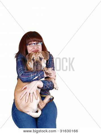 Lovely Lady With Dog.