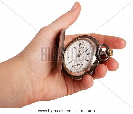 Silver Pocket Watch In Hand