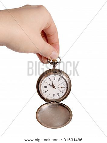 Hand Holds Silver Pocket Watch