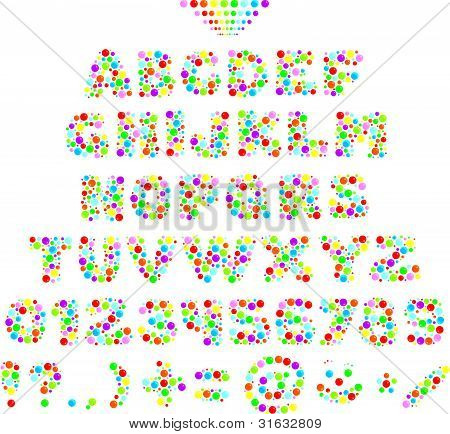 Multicolor font for children