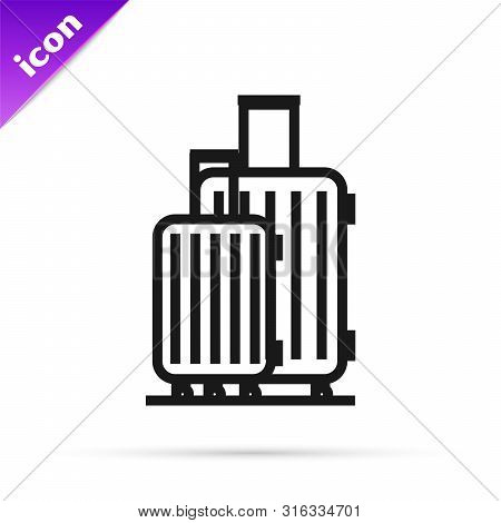 poster of Black Line Suitcase For Travel Icon Isolated On White Background. Traveling Baggage Sign. Travel Lug