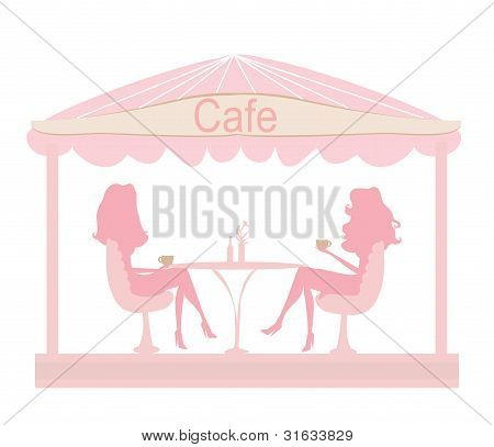 cute pretty girl in coffee break - silhouette vector girls
