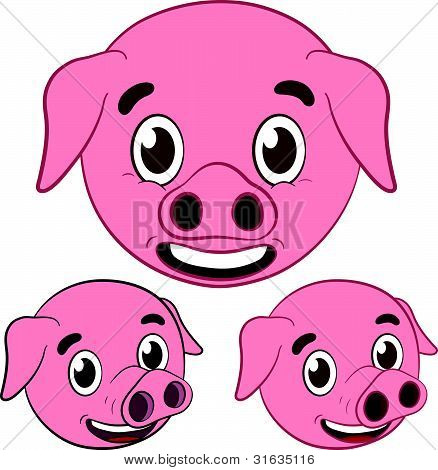 cute pig cartoon head set