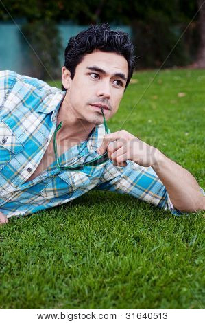 Handsome Young Man Lying In The Grass