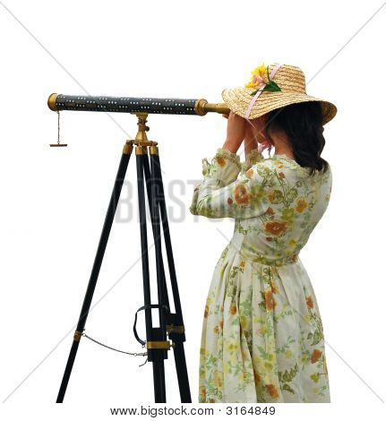 Girl With Telescope  Isolated