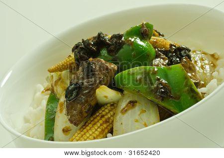black bean beef meal