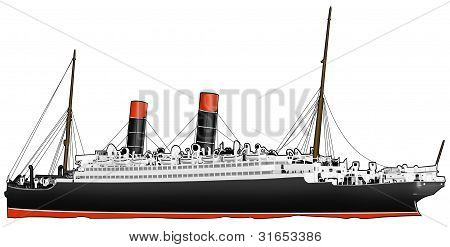 1800s Passenger Steamship isolated on white