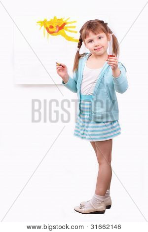 Little Girl With Her Funny Picture