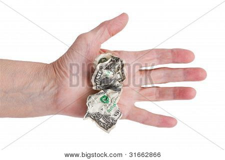 Crumpled Dollar In His Hand An Old Man