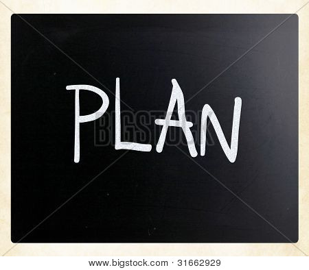 """plan"" Handwritten With White Chalk On A Blackboard"
