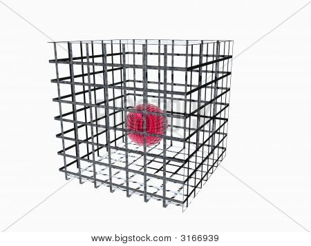 Red Sphere In Big Cage