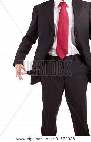 Man Holding Empty Pocket
