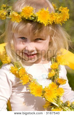 Little Girl In Flower Wreath