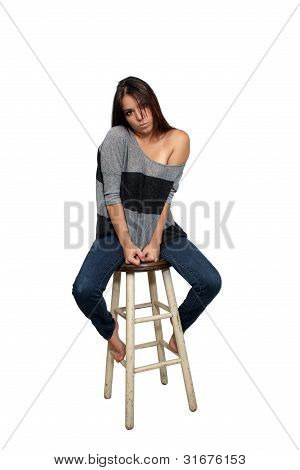 Casual Brunette On A Barstool (6)