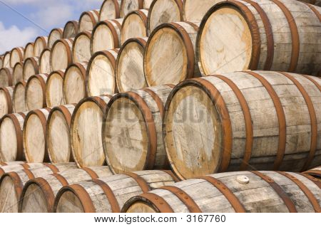Barrels In The Distillery