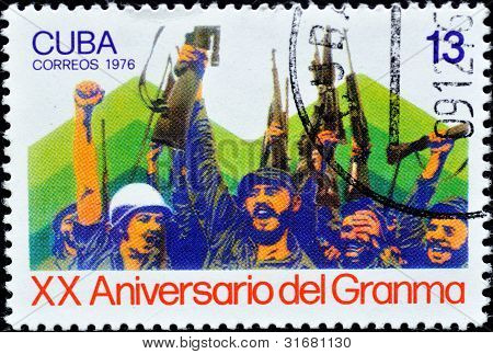 Stamp shows the image of Fidel Castro and Che Guevara