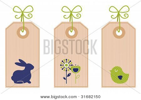 Retro Easter Labels Isolated On White