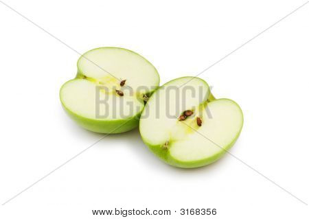 Two Apple Pieces Isolated On The White