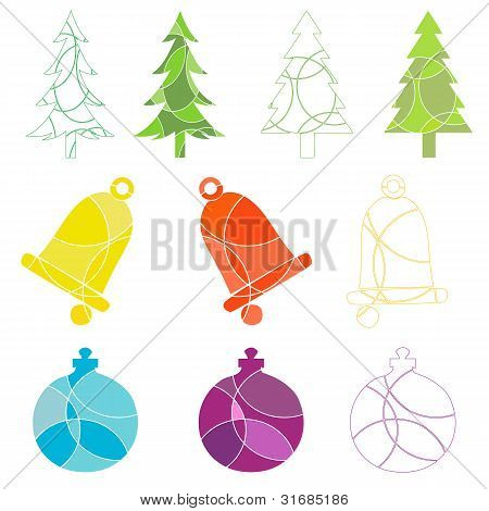 Christmas Tree And Decoration Icons