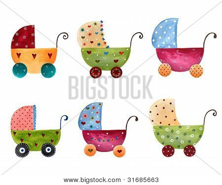Set of baby prams