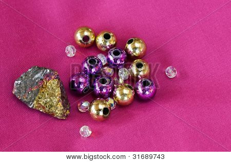 Pyrite Rock With Beads