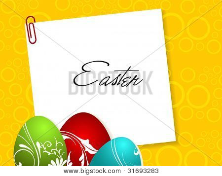 Happy Easter greeting card with decorated eggs green, red and sky blue color and copy space for your text. Abstract yellow background. EPS 10.