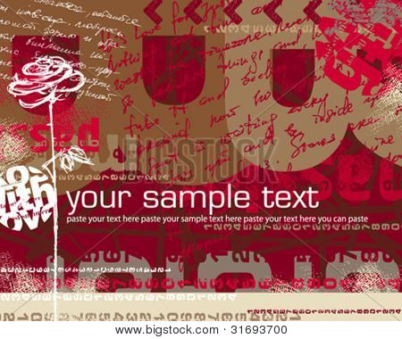 Abstract background with sketch of rose and scripts. Vector illustration.