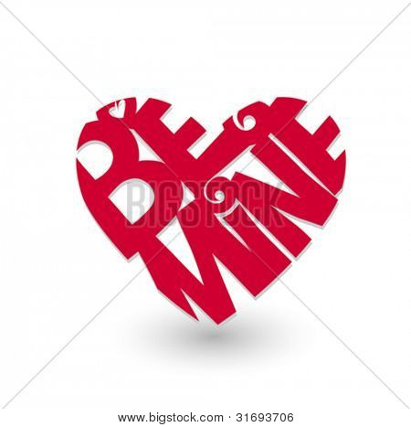 Red heart with script â??be mineâ? on white. Vector illustration.