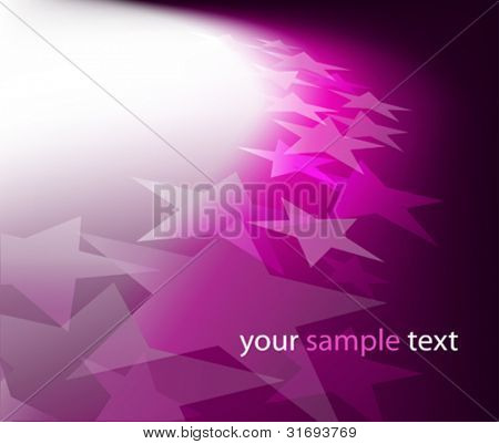 Background with lighting effect and stars. Vector illustration. (Rgb-model, no transparency).