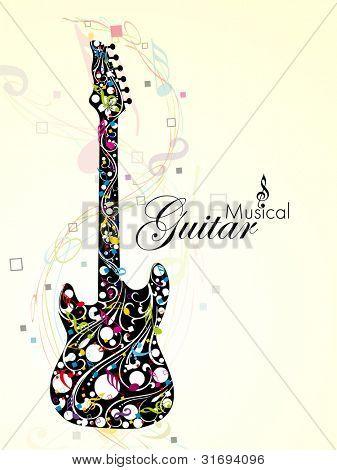 Ilustração em vetor de uma guitarra, decorada com notas musicais coloridas e florais sobre fundo de onda