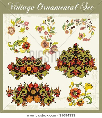 Vector floral ornamental set in traditional Russian style.
