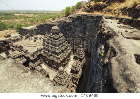 Ancient Hindu Rock Temple At Ellora, India