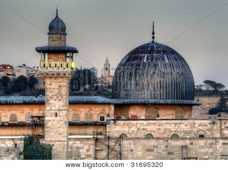 Al Aqsa Mosque, the third holiest site in Islam, with Mount of Olives in the background in Jerusalem, Israel.
