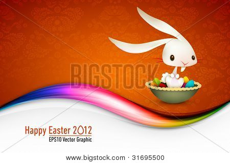 Easter Bunny Sitting in Bowl full of Colored Eggs  EPS 10 Vector Card   Layers Organized and Named Accordingly