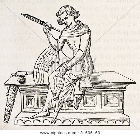15th century scribe old illustration. By unidentified author, published on Magasin Pittoresque, Paris, 1882