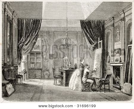 King's Charles XV of Sweden painting atelier, old illustration. Created by Fichot, published on L'Illustration, Journal Universel, Paris, 1863