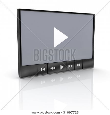 Media video player with reflection on white