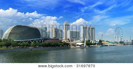 Singapore skyline panorama at Marina Bay