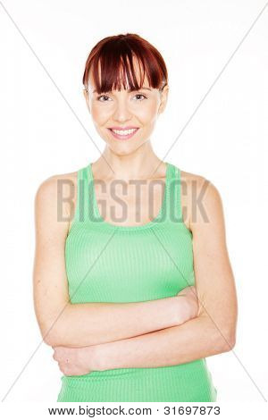 Portrait of smilin redhead female on white background
