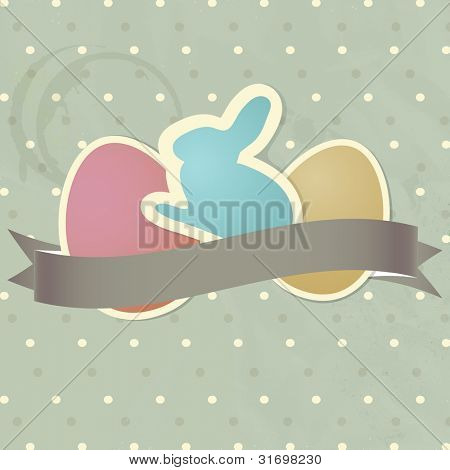 Vintage easter card with cute paper bunny and eggs on polka dot background