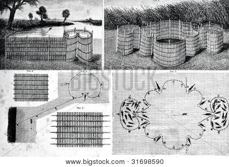 "Russian fisheries in the Kuban: wicker fences for fish. Engraving by  Rashevsky . Published in magazine ""Niva"", publishing house A.F. Marx, St. Petersburg, Russia, 1888"