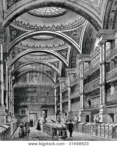 Library of the Museum of Grenoble (France). Engraving by Bertrand  from picture by Lanslo. Published in magazine