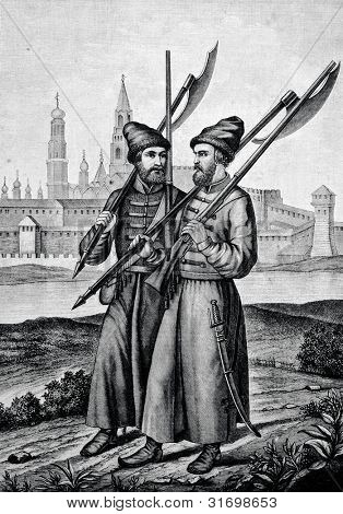 Moscow Archer, 18th century. Engraving by Flyugel. Published in magazine